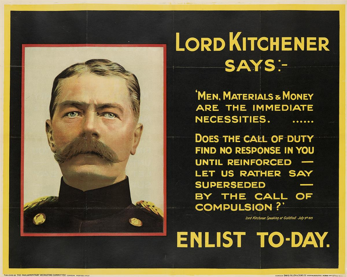 VARIOUS-ARTISTS-[WORLD-WAR-I--BRITISH]-Group-of-5-posters-Si