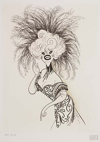 Carol Channing in Hello Dolly! Etching, 12 3/4 x9 1/2 inches, full margins. Printers proof, annotate P.P. II/II in pencil, lower mar