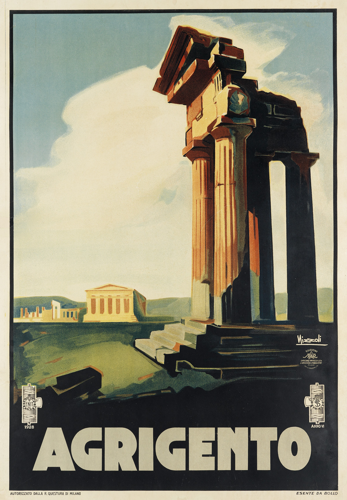 MARCELLO-NIZZOLI-(1887-1969)-AGRIGENTO-1928-38x27-inches-98x