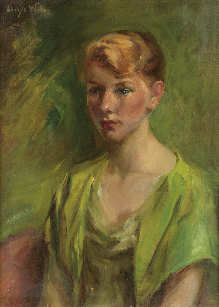 GLADYS-LEE-WILES-Portrait-of-a-Woman-in-a-Green-Blouse