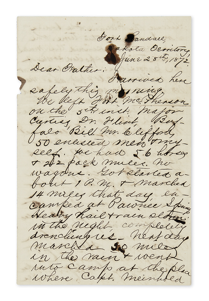 (WEST.) Steever, Edgar Z. Small archive of his letters as a lieutenant in the Indian Wars with Buffalo Bill.
