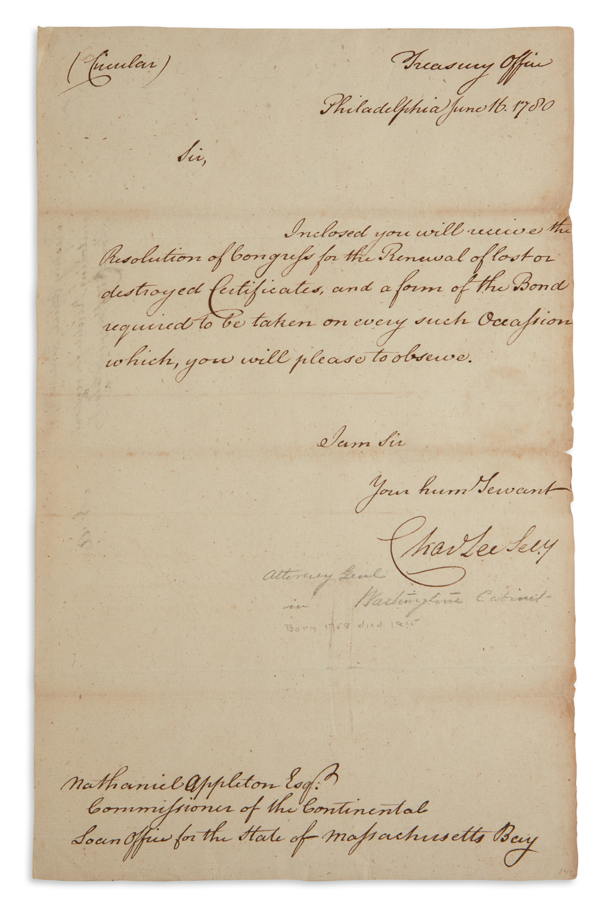 (AMERICAN-REVOLUTION)-CHARLES-LEE-Brief-Letter-Signed-as-Sec