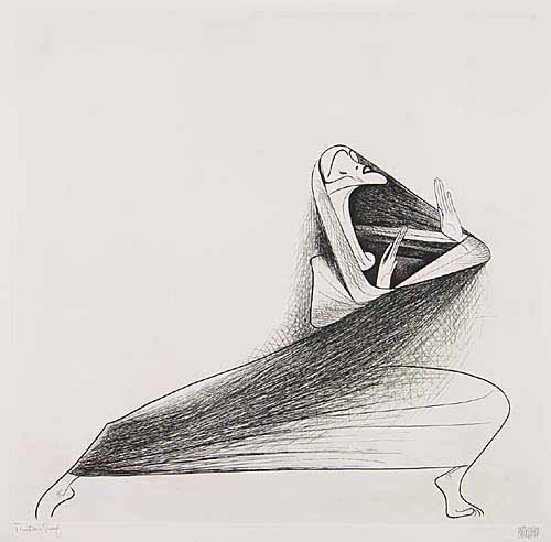 Martha Graham. Etching, 19 3/4x20 1/2 inches, full margins. Printers proof, signed and annotated in pencil, lower margin. 1968.