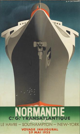 A. M. CASSANDRE (ADOLPHE MOURON, 1901-1968). NORMANDIE / VOYAGE INAUGURAL. 1935. 37x23 inches, 96x59 cm. Alliance Graphique, Paris.