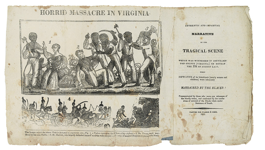 (INSURRECTIONS.) NAT TURNER [WARNER, SAMUEL]. Authentic and Impartial Narrative of the Tragical Scene, which was Witnessed in Southampt