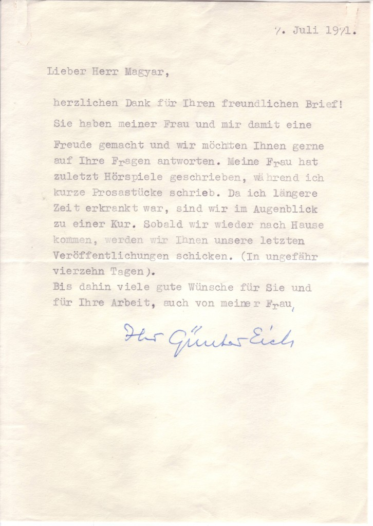 EICH-GÜNTER-Typed-Letter-Signed-to-László-Magyar-in-German