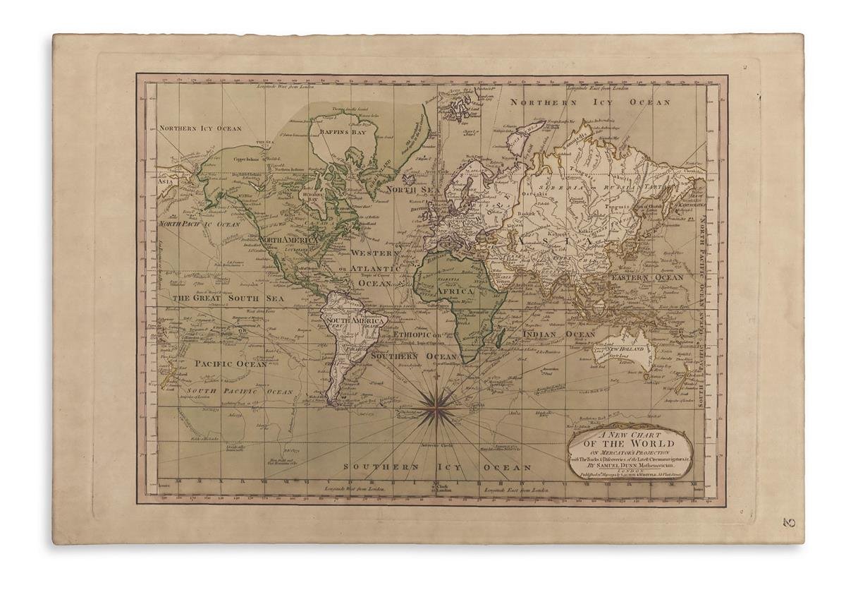 DUNN, SAMUEL. A New Chart of the World on Mercators Projection.