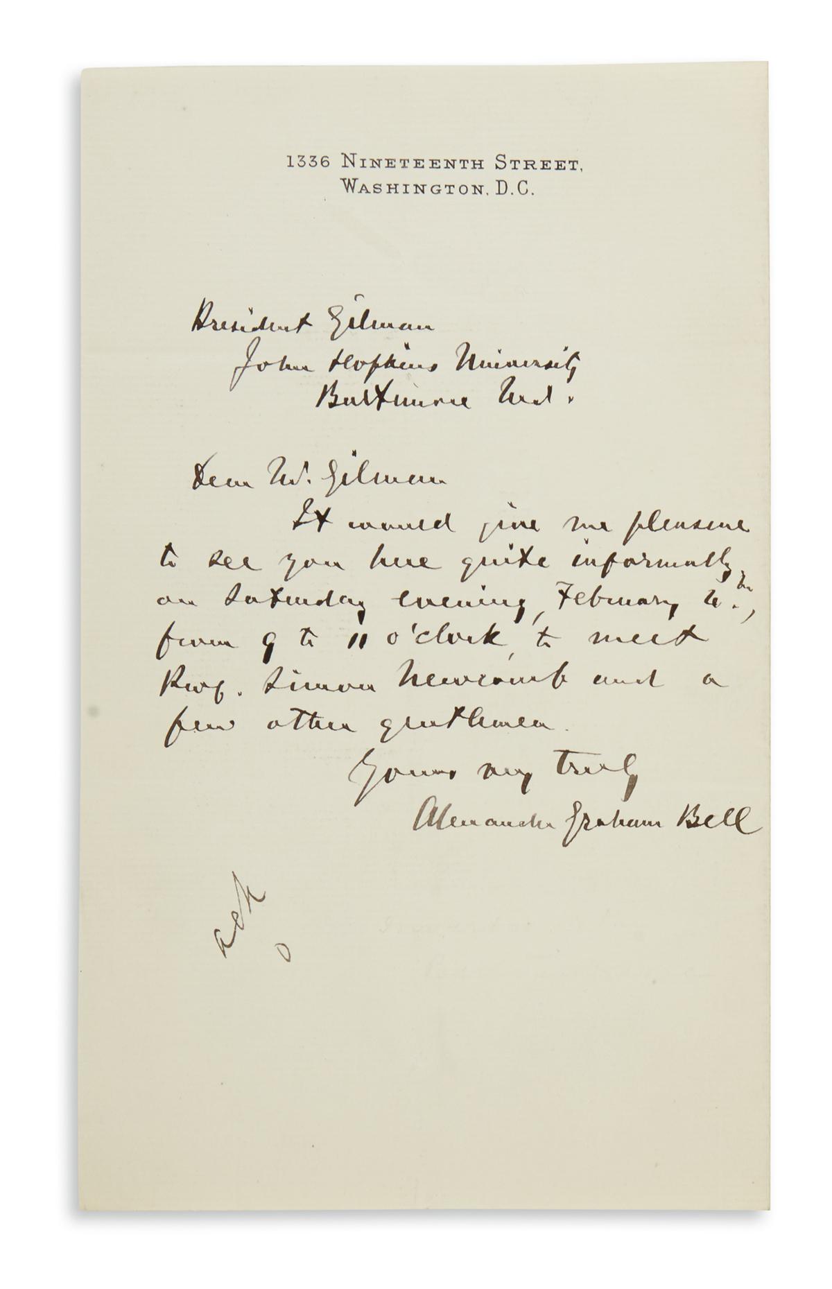 ALEXANDER GRAHAM BELL. Autograph Letter Signed, to President of Johns Hopkins University Daniel Coit Gilman, arr...
