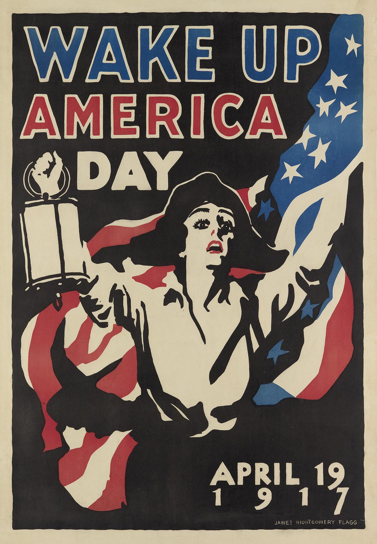 JAMES-MONTGOMERY-FLAGG-(1870-1960)-WAKE-UP-AMERICA-DAY-1917-