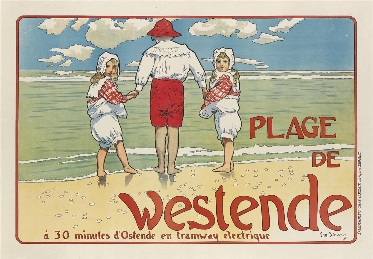 GUSTAVE-MAX-STEVENS-(1871-1946)-PLAGE-DE-WESTENDE-1898-27x39