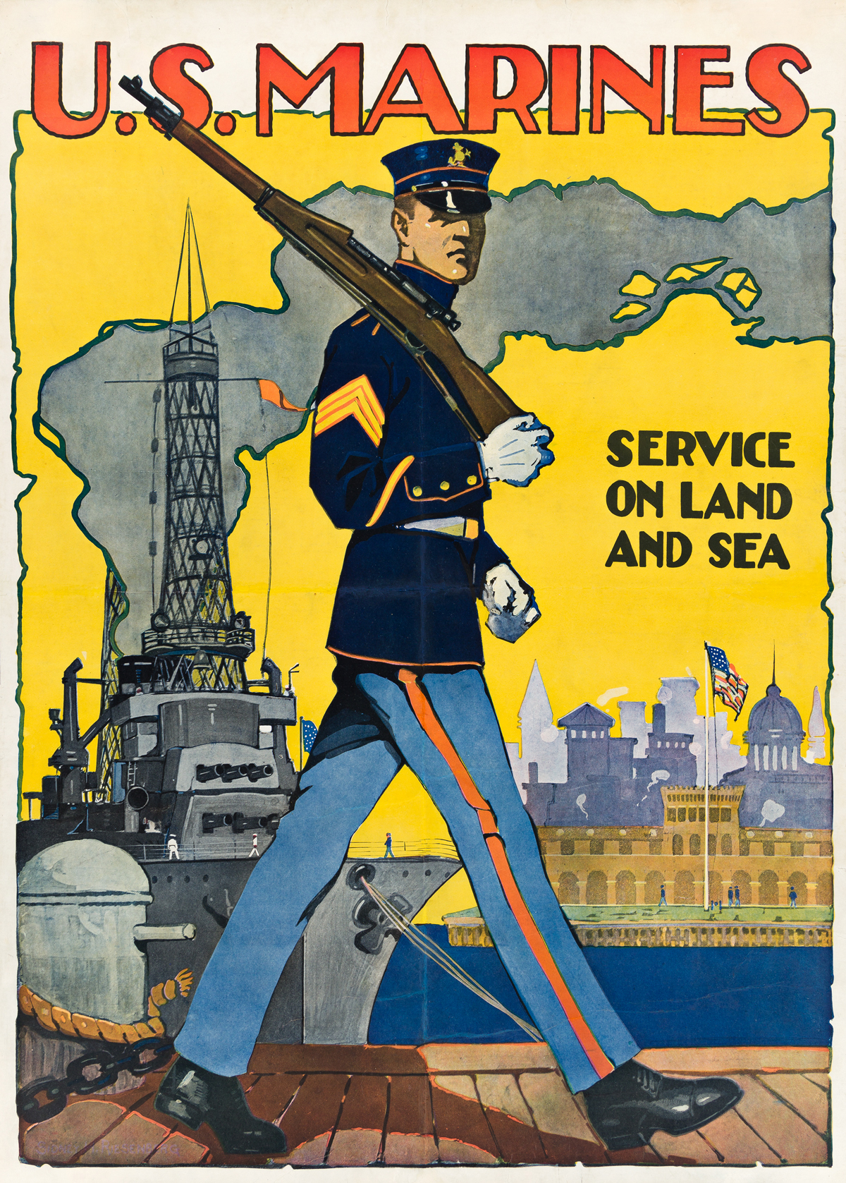 SIDNEY H. RIESENBERG (1885-1972).  U.S. MARINES / SERVICE ON LAND AND SEA. 1917. 35¾x25½ inches, 90¾x64¾ cm.