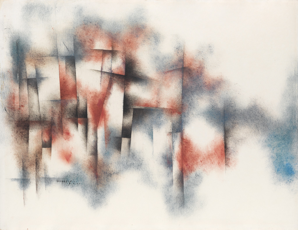 NORMAN LEWIS (1909 - 1979) Untitled (Blue and Red Abstraction).