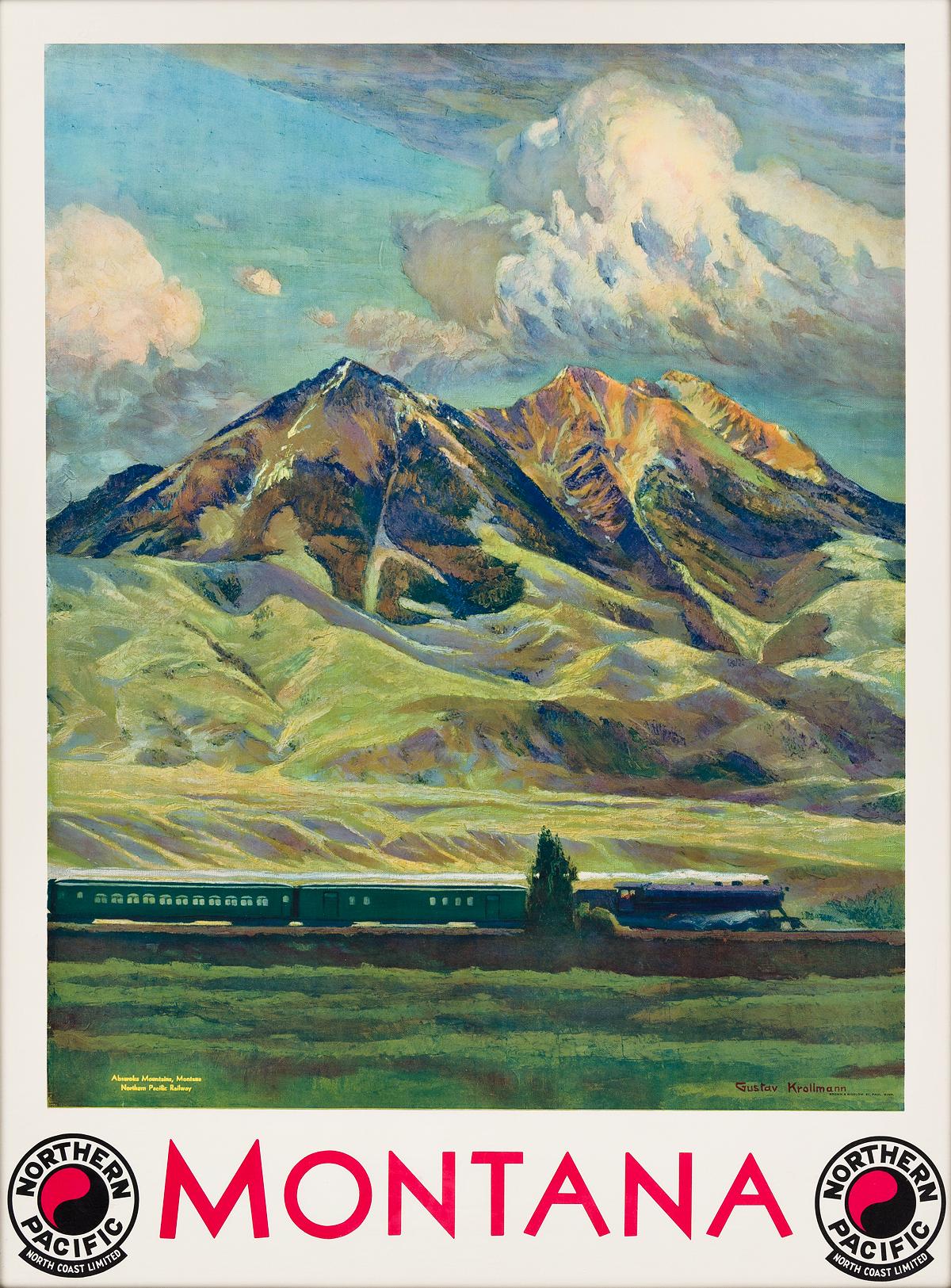GUSTAV-W-KROLLMAN-(1888-1962)-MONTANA--NORTHERN-PACIFIC-Circa-1930-39x28-inches-99x73-cm-Brown--Bigelow-St-Paul
