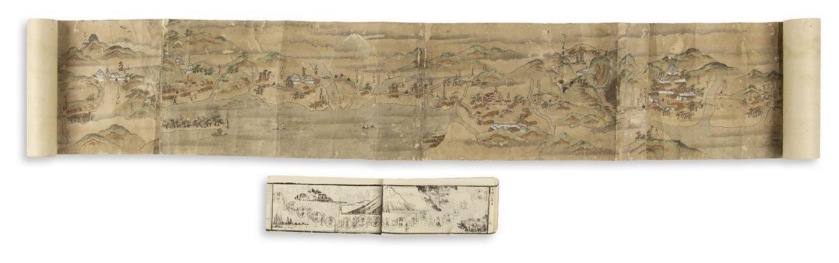 (JAPAN.) Hand-painted scroll of the Tokaido Road from Edo to Osaka.