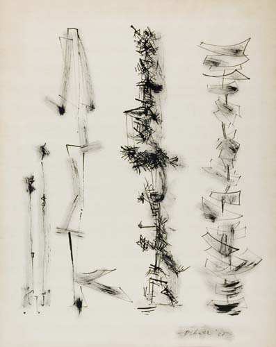 DOROTHY DEHNER Abstract Composition with Vertical Forms.