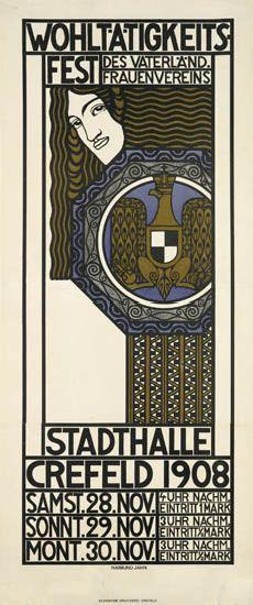 RAIMUND-JAHN-(DATES-UNKNOWN)-WOHLTÄTIGKEITS---FEST--STADTHALLE-CREFELD-1908-54x23-inches-138x58-cm-Kleinsche-Druckerei-Crefeld