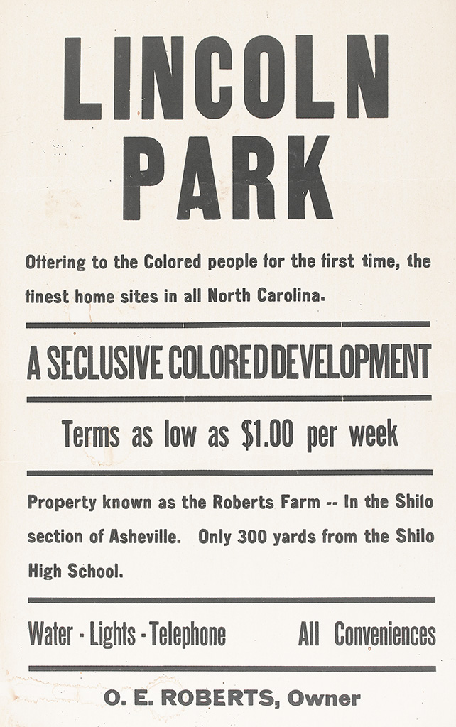 (CIVIL RIGHTS--HOUSING.) Lincoln Park, Offering to the Colored People for the First Time, the Finest Home Sites in all North Carolina.