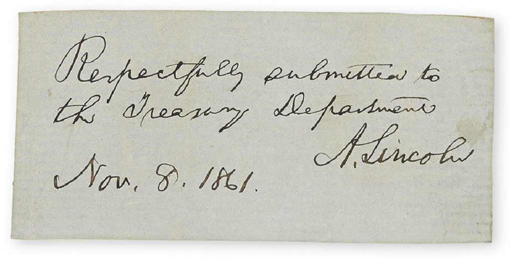 LINCOLN, ABRAHAM. Autograph Endorsement dated and Signed, A. Lincoln, as President: