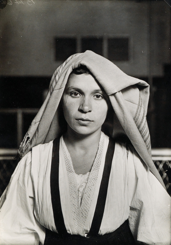 LEWIS W. HINE (1874-1940) An Albanian Woman from Italy at Ellis Island.