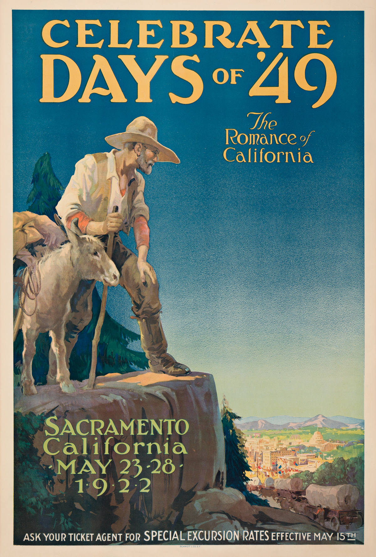 Designer Unknown.  CELEBRATE DAYS OF 49 / THE ROMANCE OF CALIFORNIA. 1922.