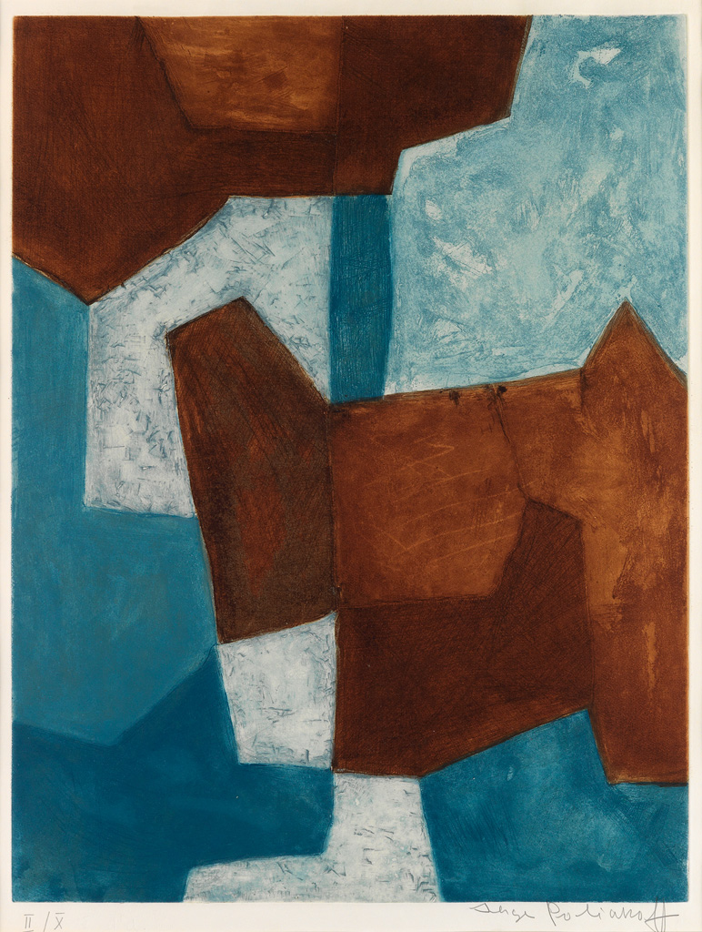 SERGE POLIAKOFF Composition bleue et brune.