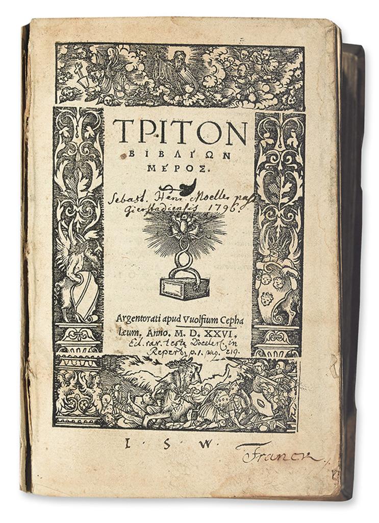 BIBLE IN GREEK.  [Tes theias graphes palaias delade kai neas hapanta.]  Vol. 3 (of 4):  Proverbs-4 Maccabees.  1526.  Lacks one leaf