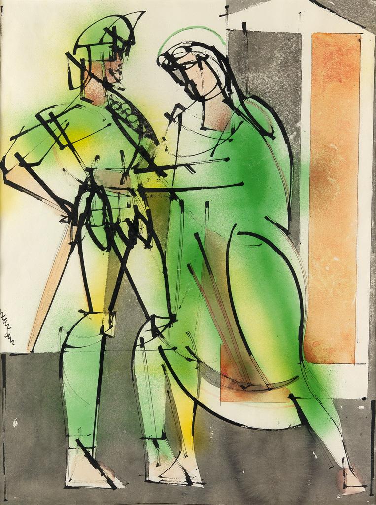 ROMARE BEARDEN (1911 - 1988) Untitled (Two Warriors).