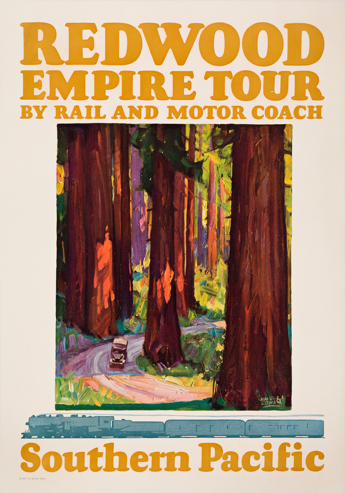 Maurice Logan (1886-1977).  REDWOOD EMPIRE TOUR / SOUTHERN PACIFIC. 1928.