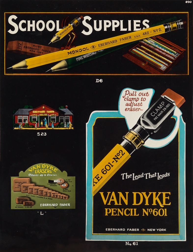 (EBERHARD FABER PENCIL CO.) A fantastically hand-colored salesmans album containing 86 photographs displaying pencils, pens, chalk, er
