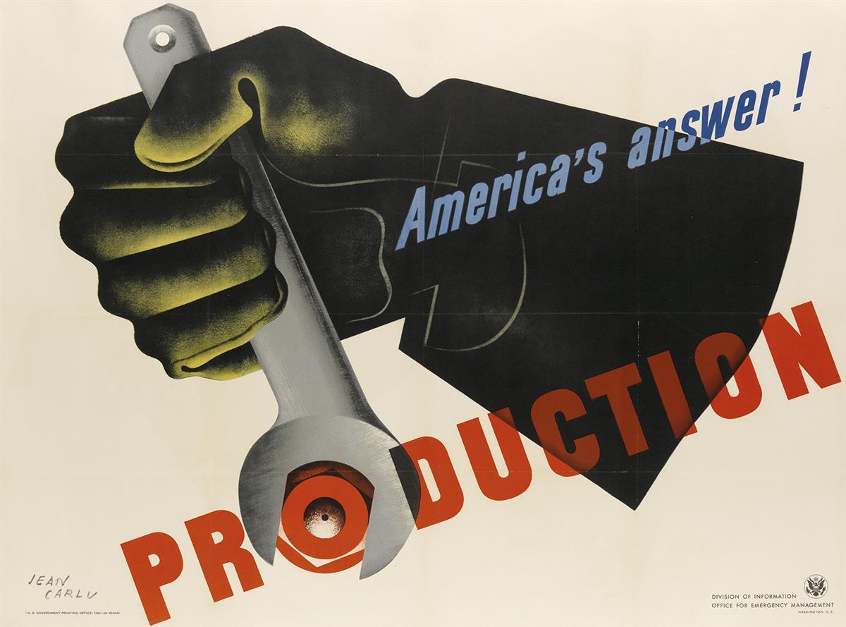 JEAN-CARLU-(1900-1997)-AMERICAS-ANSWER--PRODUCTION-1942-30x4