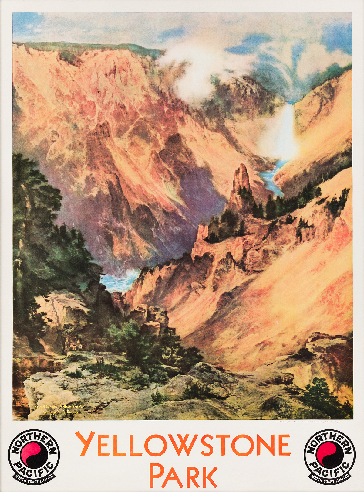 DAPRÈS THOMAS MORAN (1837-1926). YELLOWSTONE PARK / NORTHERN PACIFIC. 1924. 38x28 inches, 98x73 cm. Brown & Bigelow, St. Paul.