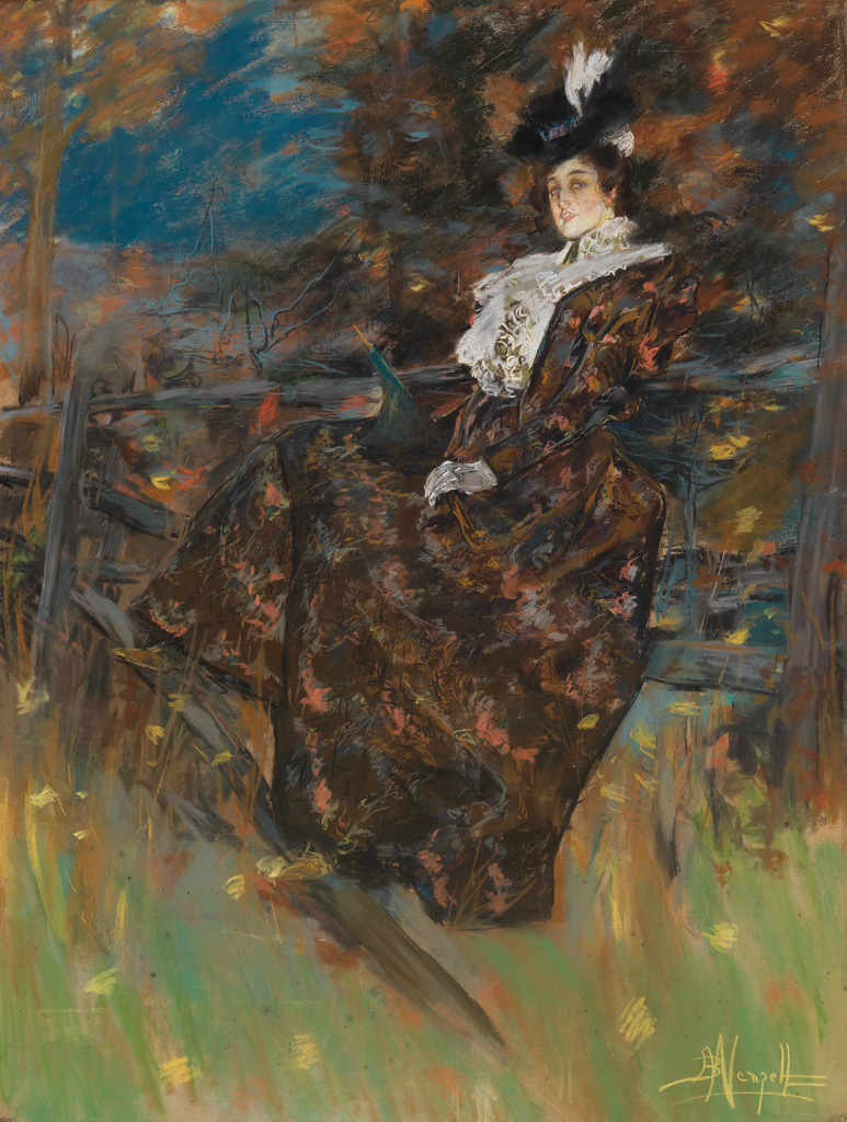 ALBERT WENZELL An Elegantly-Dressed Woman Seated on a Fence.
