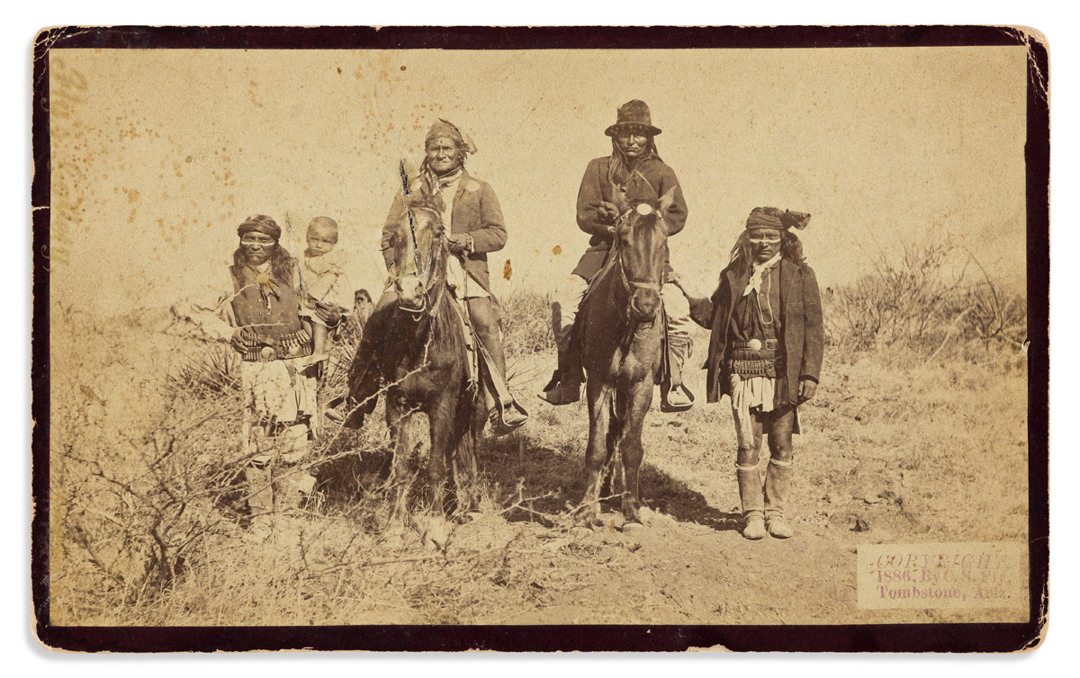 (AMERICAN INDIANS--PHOTOGRAPHS.) Camillus S. Fly, photographer. Geronimo and Natches Mounted.