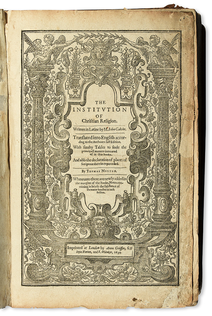 CALVIN, JEAN. The Institution of Christian Religion.  1634