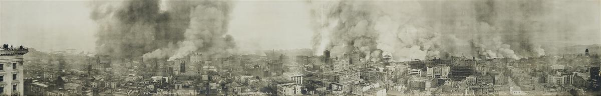 (SAN FRANCISCO EARTHQUAKE & FIRE) Group of 3 panoramas by R. J. Waters depicting San Francisco before, during, and after the devastatin
