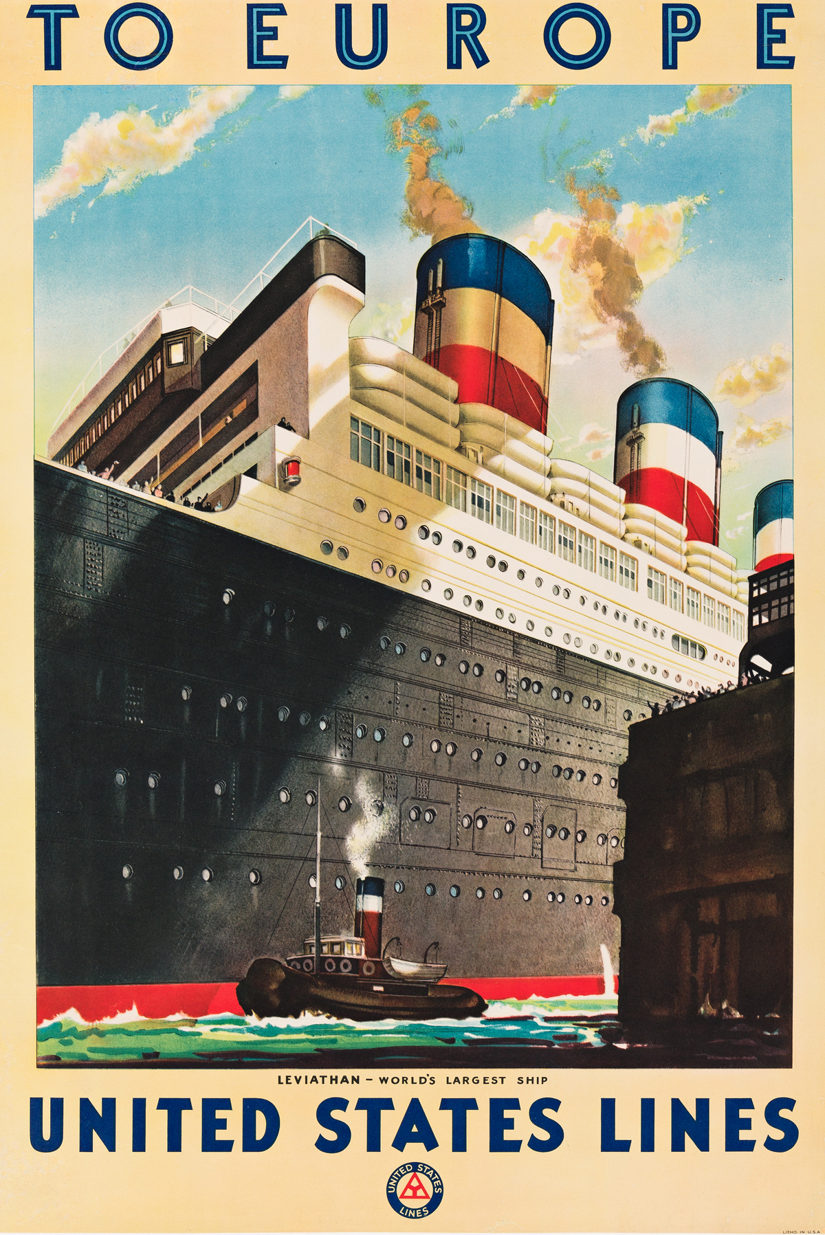 R. S. Pike (Dates Unknown).  TO EUROPE / UNITED STATES LINES / LEVIATHAN. Circa 1925.