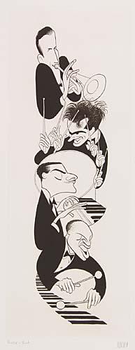 Swing Quartet: Harry James, Gene Krupa, Teddy Wilson, and Lionel Hampton. Etching, 24 3/4x9 1/4 inches, full margins. Printers p