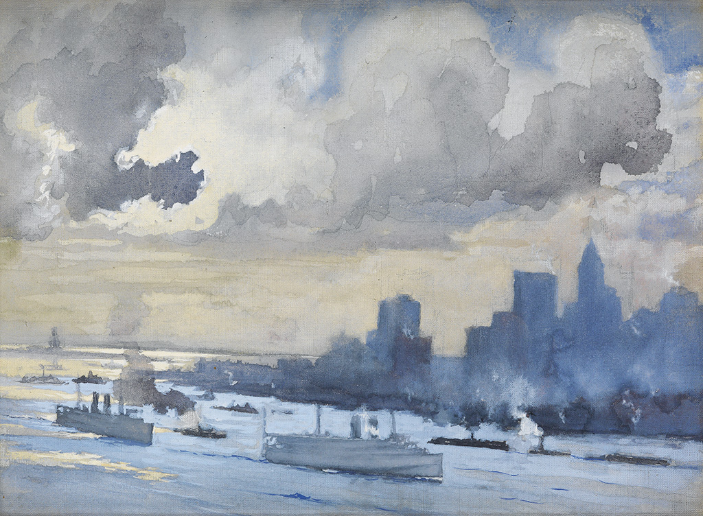 JOSEPH-PENNELL-Clouds-over-New-York-Harbor