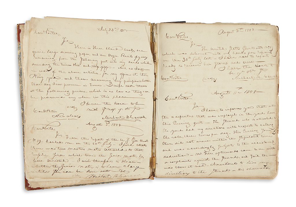 (NAVY.) Carroll, Michael B. Letterbook of a naval lieutenant in New Orleans.