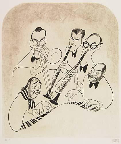 Big Bands: Glenn Miller, Artie Shaw, Benny Goodman, Count Basie, Duke Ellington. Etching, 15 1/2x13 3/4 inches, full margins. Pri