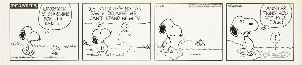 CHARLES M. SCHULZ. Woodstock is Searching for His Identity.