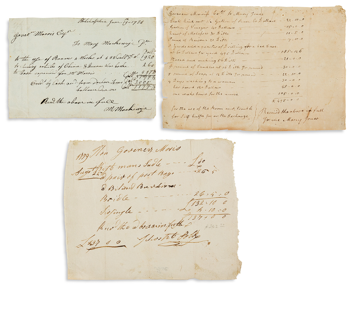 (AMERICAN-REVOLUTION--1779)-Group-of-receipts-issued-to-Foun