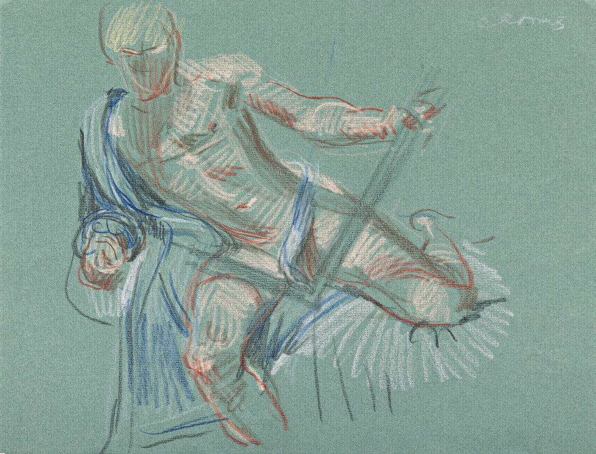 PAUL CADMUS (1904-1999) Two color crayon drawings of reclining male models.
