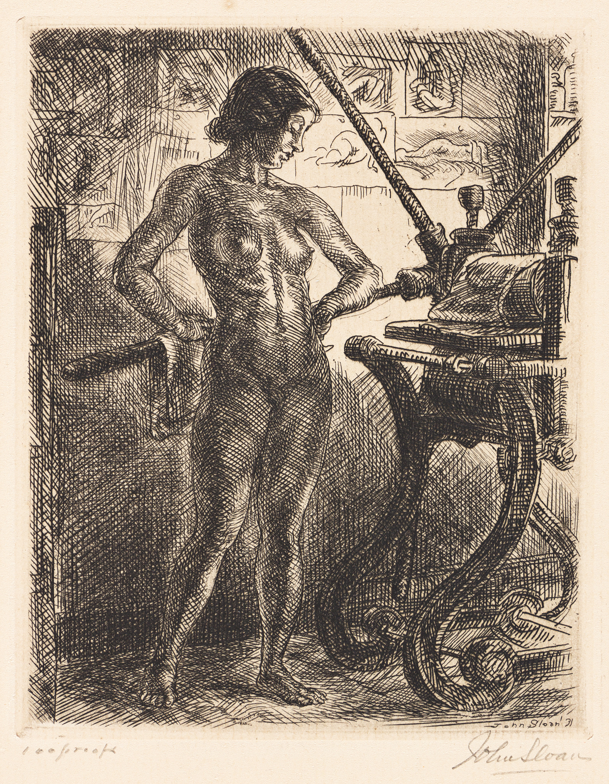 JOHN SLOAN (1871-1951) Nude and Etching Press.