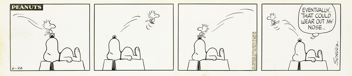 CHARLES M. SCHULZ. Eventually, That Could Wear Out My Nose.