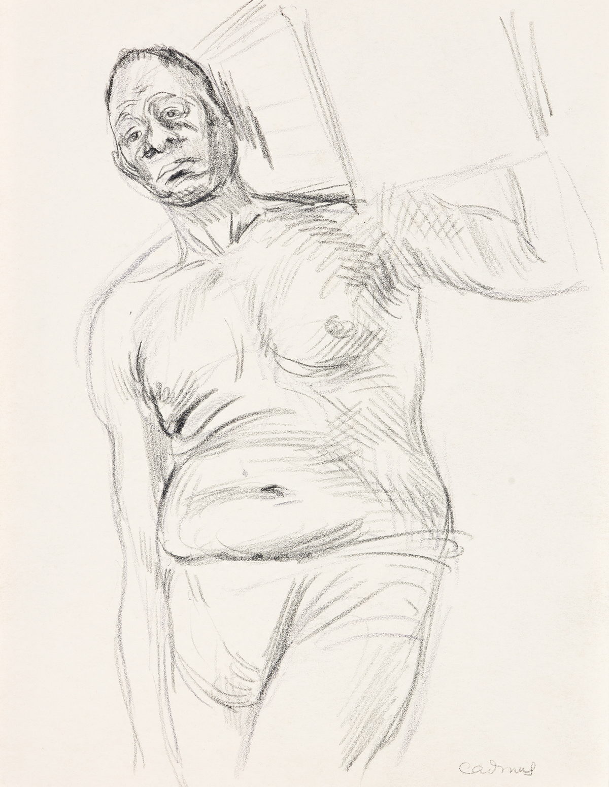 PAUL CADMUS (1904-1999) Study of a Male Model Carrying a Box on his Shoulder.