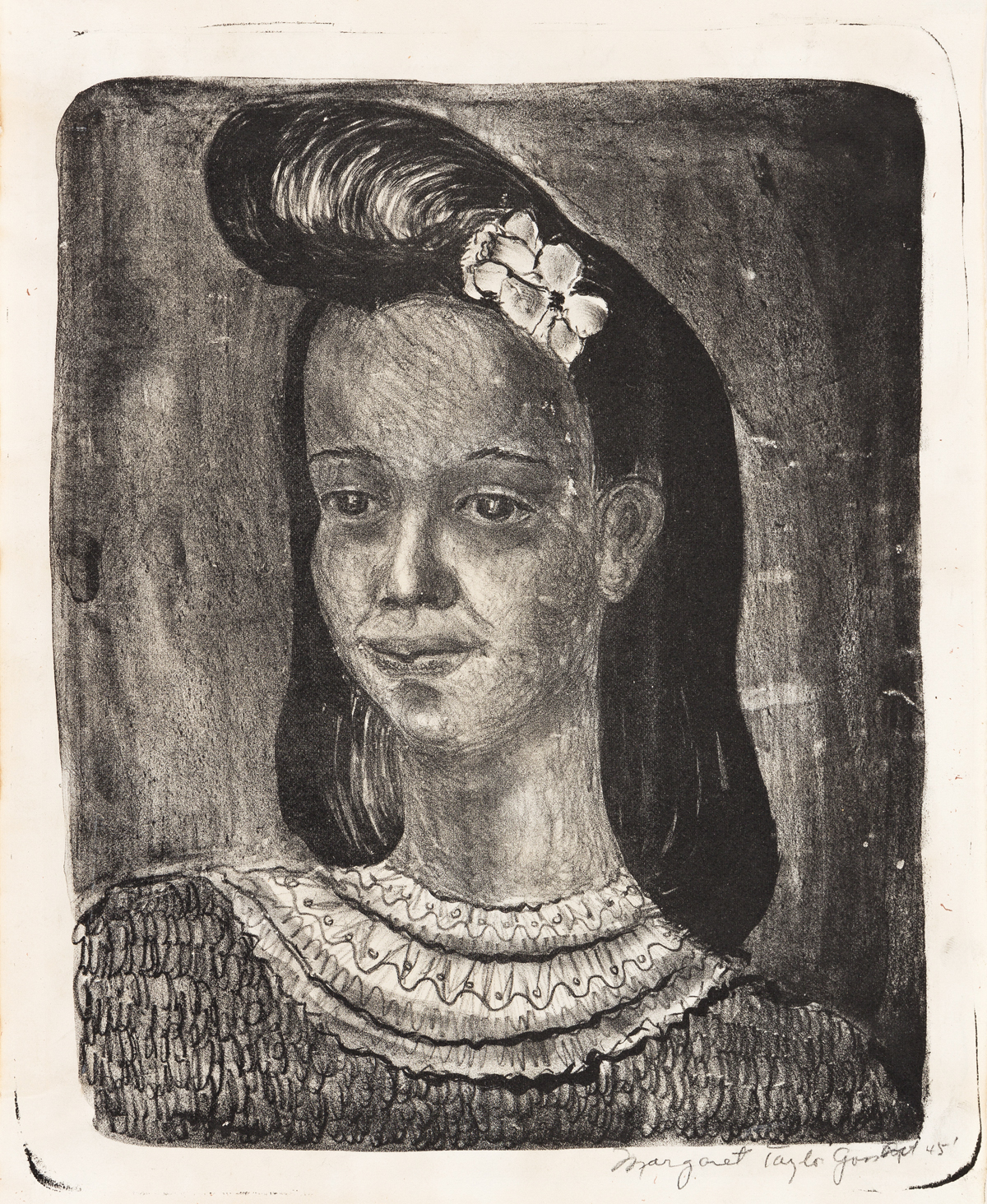MARGARET BURROUGHS (1917 - 2010) Untitled (Portait of a Young Woman).