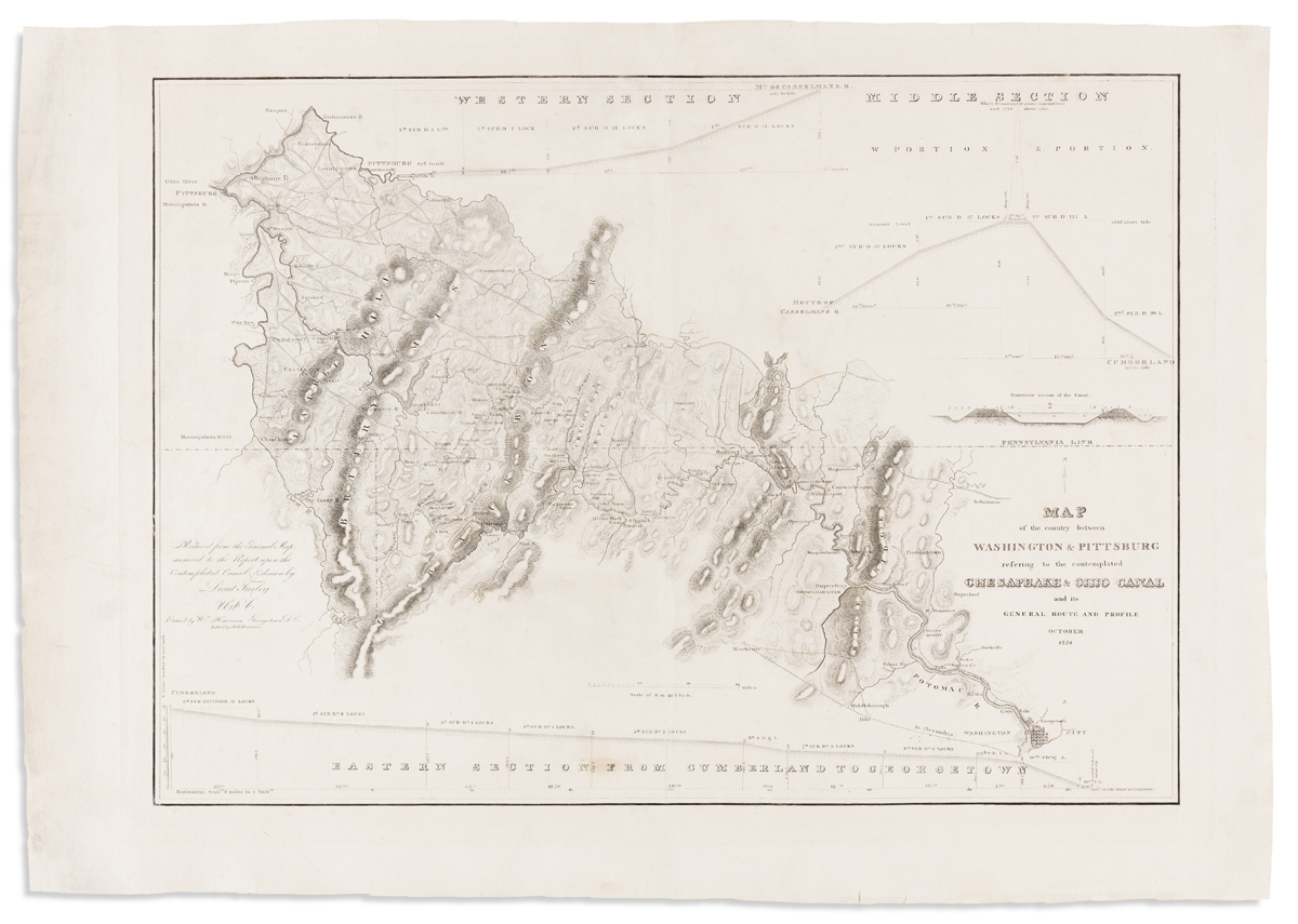 (CHESAPEAKE & OHIO CANAL.) Farley, Lieut. John; surveyor. Map of the Country Between Washington & Pittsburg