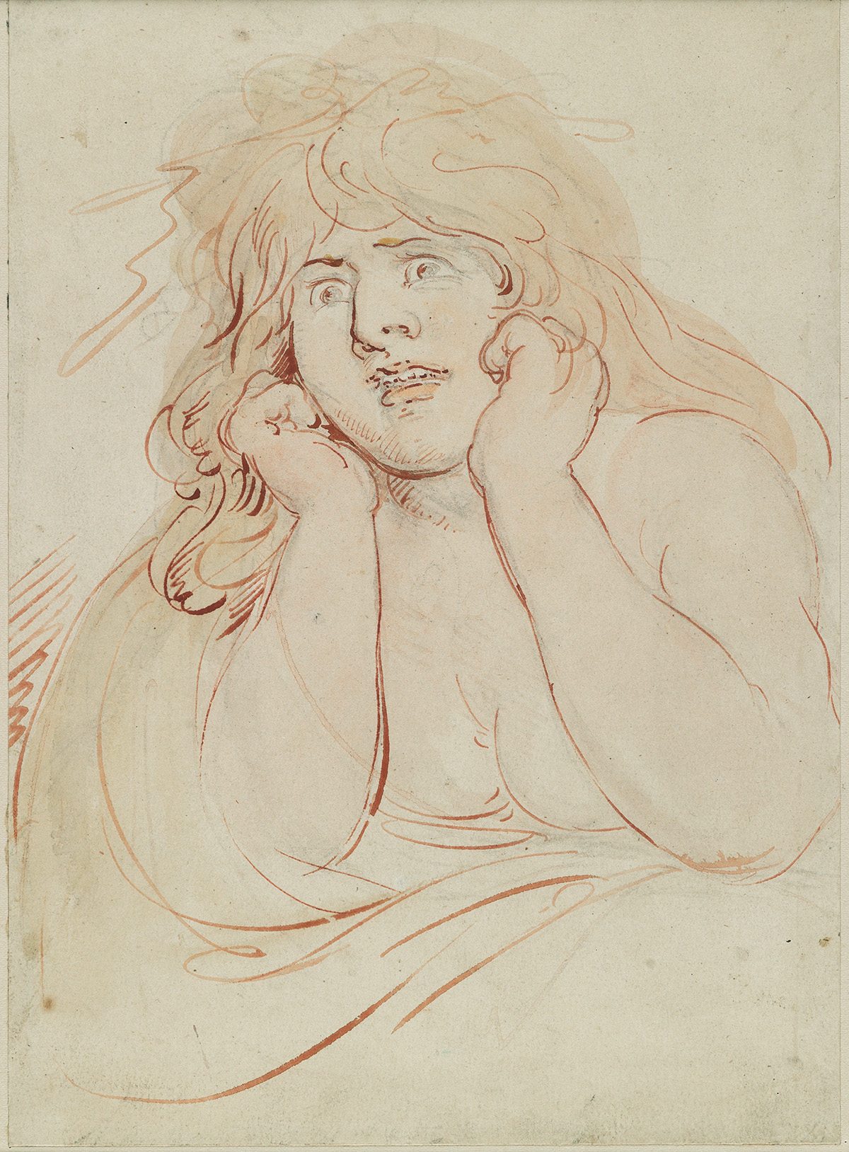 THOMAS ROWLANDSON Study of a Frightened Woman.