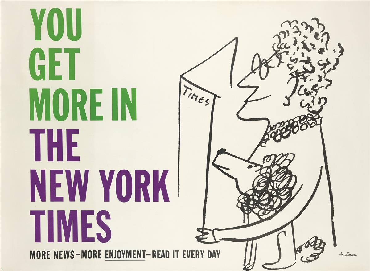LUDWIG BEMELMANS (1898-1962). YOU GET MORE IN THE NEW YORK TIMES. Circa 1957. 44x59 inches, 111x151 cm.